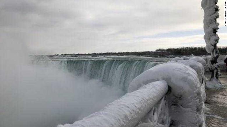 Se congelaron las famosas Cataratas del Niágara