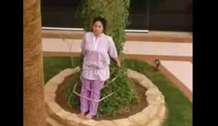 Amarra a empleada doméstica a un árbol como castigo