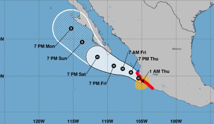 Tormenta tropical Lorena pasó a ser huracán y avanza hacia la costa de México